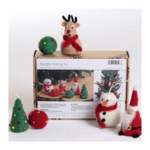The Good Yarn Ashford christmas felting kit snowman santa claus rudolph reindeer tree